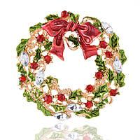Рождественская елка и венок Брошь Новогодние украшения Подарок Рубашка Брошь воротника