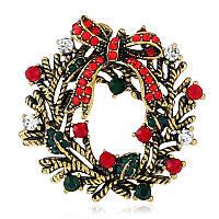 Рождественский венок Праздничный подарок для брошюр Рубашка Ошейник Brooch Sliver & Gold