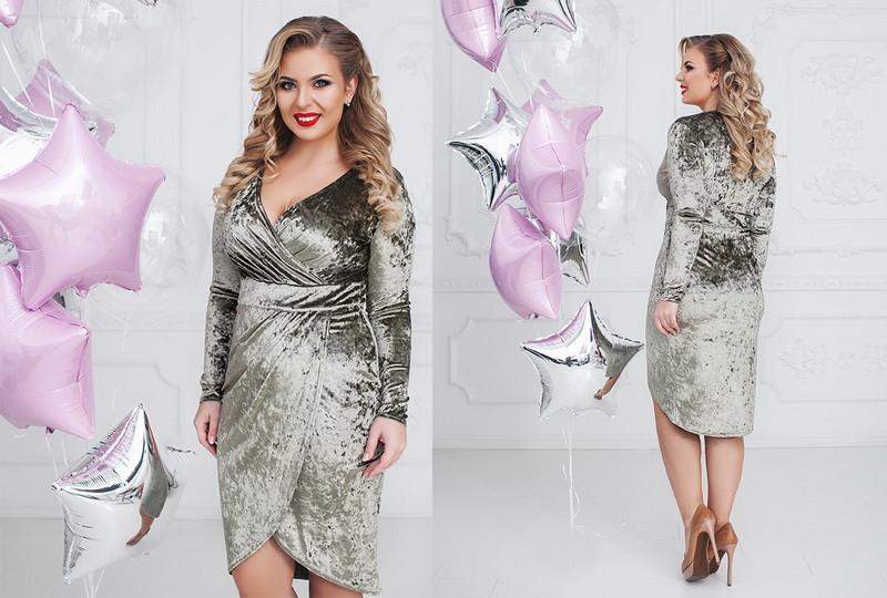 Женское велюровое платье большого размера  +цвета