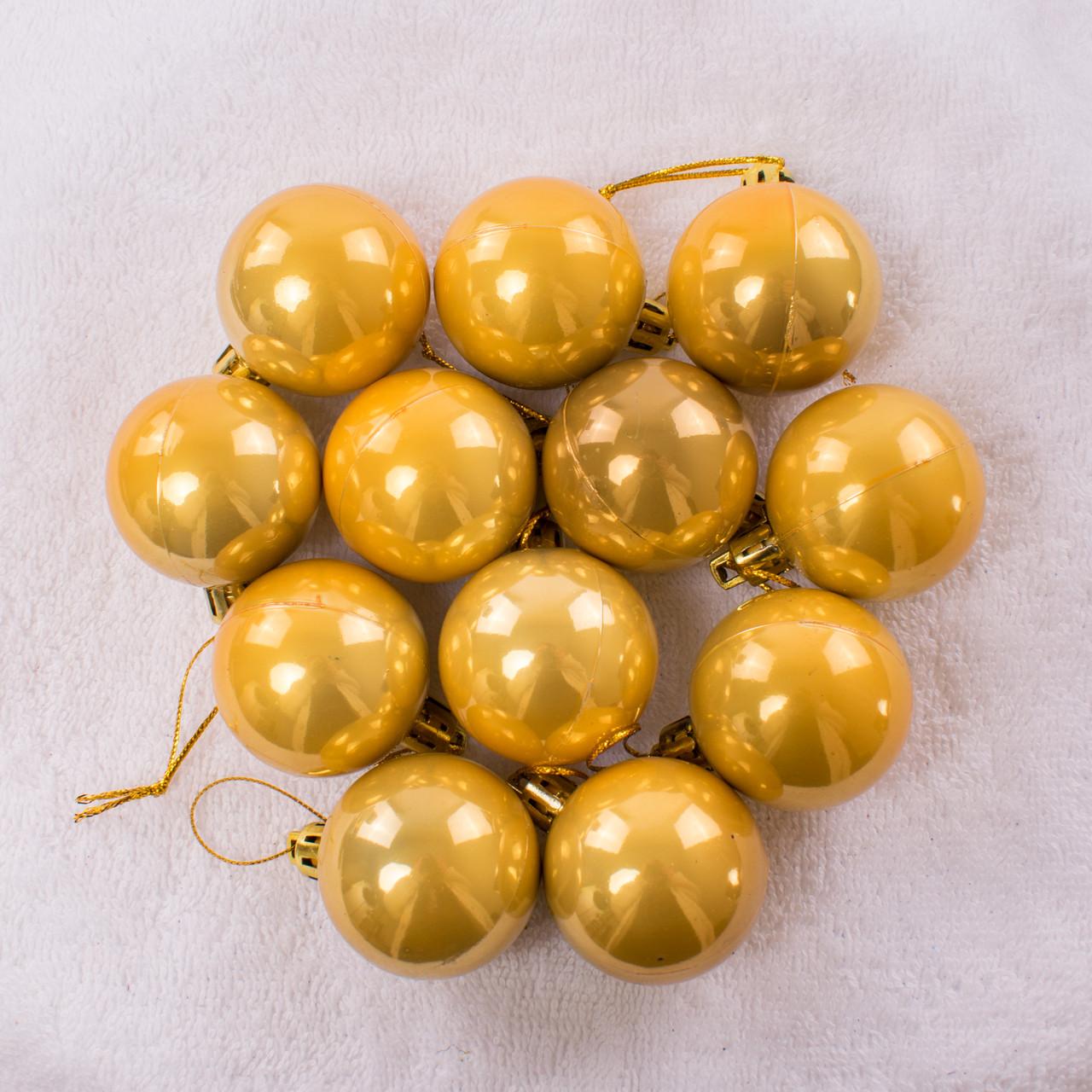Набор новогодних шариков 122. В упаковке 12 шариков.  Диаметр 40 мм.