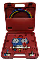 Манометрический коллектор с шлангами и быстросъемными переходниками для заправки фреона R134a