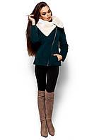 """Утепленное пальто-куртка из плотного кашемира Аманда темно-зеленая """"KR"""""""