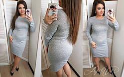 Ангоровое зимовий теплу сукню до колін бордове великий розмір, фото 2