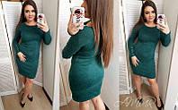 """Ангоровое теплое платье до колен однотонное темно-зеленое """"Перрис"""" большой размер 50, 52, 54"""