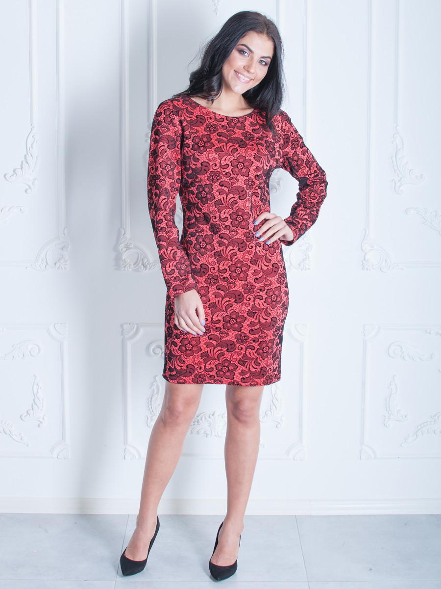 Женское платье с длинным рукавом красное 50,52,54