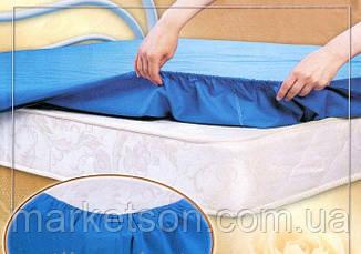Трикотажные простыни на резинке с наволочками 70*70. Светло голубой., фото 2