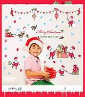 Рождество Санта-Клаус стены стикеры Творческое оформление