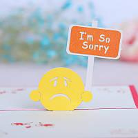 3D Pop Up Мне очень жаль Приветствие Извините, открытку Открытки Рождественские открытки Поздравительная открытка