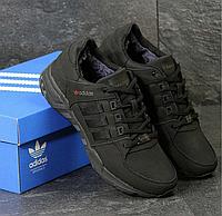 Мужские зимние кроссовки Adidas 3789 чисто чёрные нубук