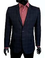 Мужской пиджак приталенный синий в клетку № 94/2 - 11603 тем-син.