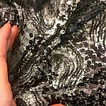 Чорний гіпюр з паеткой мереживо, фото 2