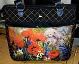 Джинсовая сумочка саквояж маки акварель, фото 2