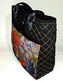 Джинсовая сумочка саквояж маки акварель, фото 3