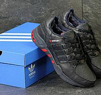 Зимние кроссовки для мужчин Adidas 3791 чёрные/красные вставки