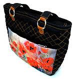 Джинсовая сумочка саквояж маки акварель2, фото 2