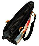 Джинсовая сумочка саквояж маки акварель2, фото 3