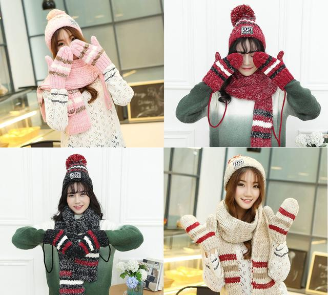 комплект вязаный шапка шарф и варяжки