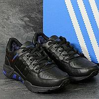 Зимние кроссовки мужские Adidas 3792 чёрные/ синие вставки