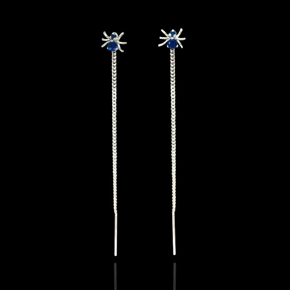 Серебряные серьги-протяжки Паучки