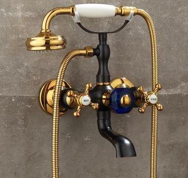 Смеситель кран черный золото с лейкой для ванной комнаты 0179