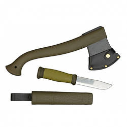 Набор Morakniv Outdoor Kit MG. Нож Outdoor 2000+Топор Camping axe. Нержавеющая сталь. Зеленый цвет. (1-2001)