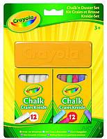Игра Crayola Мелки белые и цветные с губкой (12+12) (98268)