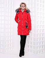 Женский пуховик-пальто с бубонами код 8637 красный, фото 1
