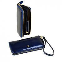 Женский лаковый кошелек-сумочка W38 dark-blue