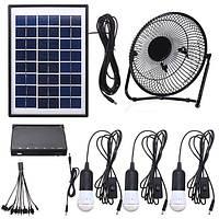 3 * 3W Солнечная Power Panel USB Зарядка Светодиодный с вентилятором Набор для дома На открытом воздухе Кемпинг
