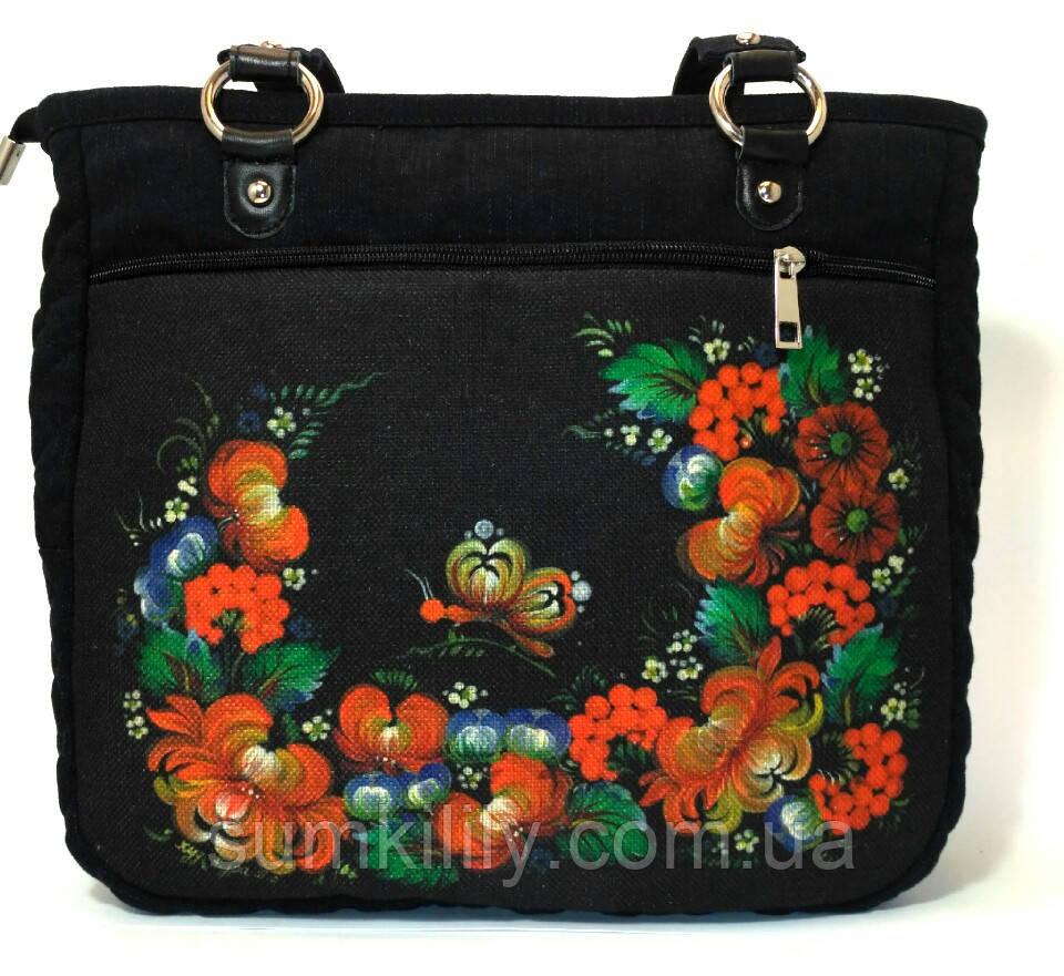 Джинсовая сумочка саквояж Цветочный венок