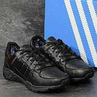 Мужские зимние кроссовки Adidas 3793 чёрные кожа, фото 1