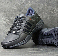 Зимние кроссовки мужские Adidas 3794 синие кожа, фото 1