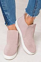 Высокие слипоны женские цвет пудра замша натуральная, удобная обувь кежлстайл для мамы и дочки с 32 по 41 размер