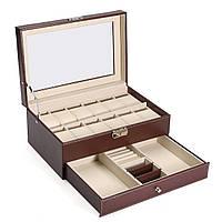 Деревянная кожа Дисплей Чехол Часы Хранение Коробка Пластик для ювелирных часов Аксессуары для часов