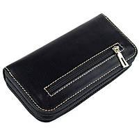 Женский кожаный кошелек на молнии двойной Varvara (черный), фото 1
