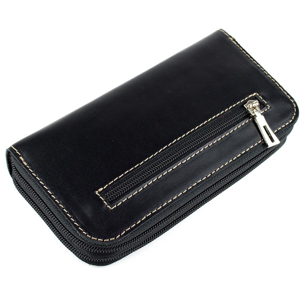 eb706a42d350 Женский кожаный кошелек на молнии двойной Varvara (черный): продажа ...