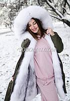 Парка из итальянской плащевки с мехом полярной лисы и отстежкой на жилет