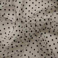 Сетка горох - цвет черный на бежевом