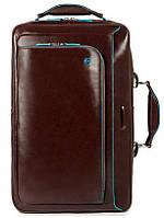 """Сумка-рюкзак Piquadro Blue Square из натуральной кожи с отделом для ноутбука 15,6"""" коричневая CA3201B2_MO"""