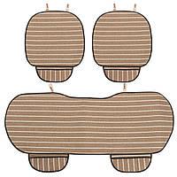 3шт Авто Чехол для сиденья 5 мест Дышащая льняная ткань Коврик для коврика Автоматическая подушка кресла