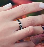 Черное с полосками - серебряное кольцо 925 пробы