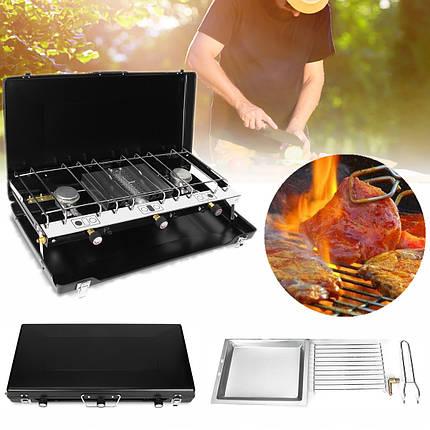 ПортативнаянастольнаядвойнаягорелкаНагревательПлита для газовой плиты BBQ для На открытом воздухе Пикник Кемпинг , фото 2