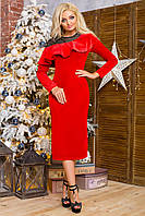 Платье из велюра цвет красный
