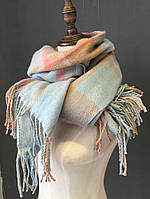 Теплый женский шарф палантин, шарф плед, шарф в клетку