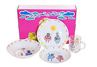 """Набір дитячого посуду з 4х предметів """"Дрім&Тім"""" (тарілка глибока, тарілка мілка 190, тарілка мілка 180, кружка"""