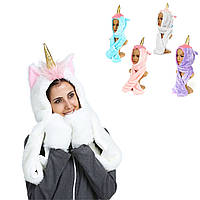 Женское Девушки Единорог Плюшевые Теплые Шапка Earmuffs Шарф Шаль Перчатки Зимнее Рождество