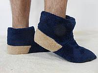 Теплые домашние сапожки для мужчин. Синие с бежевой пяткой. АРТ-1025.2