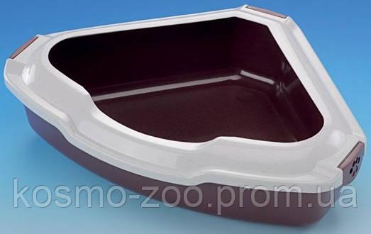Туалет для котов угловой с бортиком, 55х42х16 см