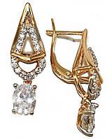 Сережки фірми Xuping.Колір: позолота +родій. Камінь: білий циркон. Висота сережки 2,5 см. Ширина 6 мм.