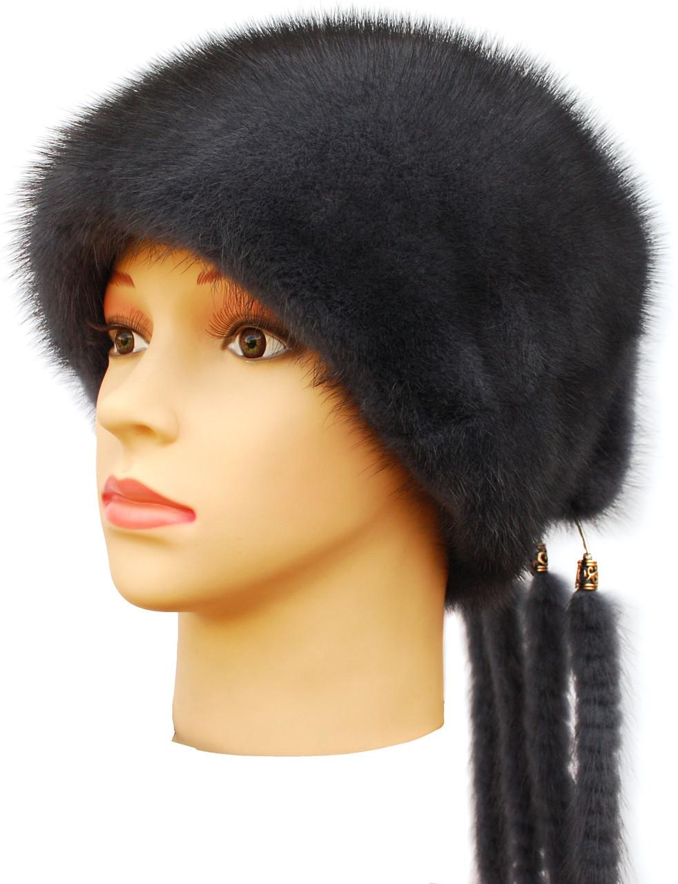 Зимова жіноча хутрова шапка з норки, Козачок2 (ірис)